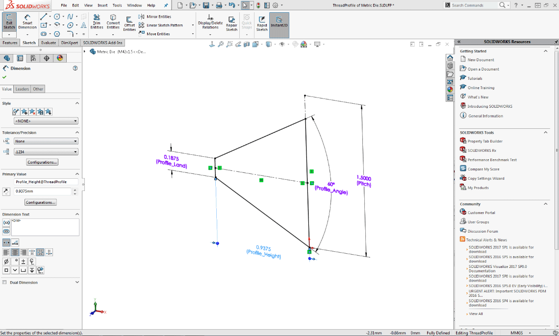 SOLIDWORKS Hints & Tips: Adding a custom size thread | The